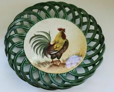 Pacific Rim Hand Painted Exclusive Rooster Green Basket Weave Plate HTF Chicken
