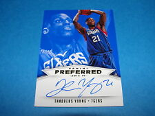 2013-14 Panini Preferred THADDEUS YOUNG Blue Autograph #/49 76ers - Timberwolves