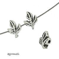 6 Antiqued Sterling Silver 3D Leaf Spacer Beads #99105