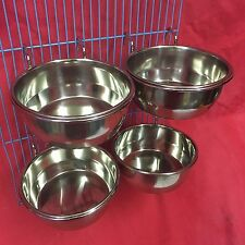 4x Dog Cat Bird Rabbit Cage Clip Water Food Bowl Countainer 2 Hook Coop Cup 12cm