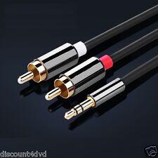 2 M 3.5 mm Stereo Jack Plug Para Audio RCA Fono Doble de Oro Plomo Cable Cromo Fundido