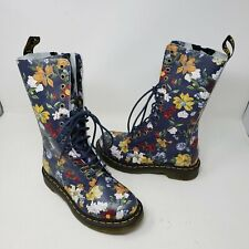Doc Dr Martens 1B99 Navy Darcy Floral 14 eyelets Tall Leather Boots Womens 6 Zip