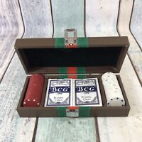 Poker Set With 2 Deck Of Playing Cards And Poker Chips In Box Case