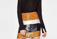 Zara WOMEN Sequinned miniskirt M Nuevo Con Etiqueta SIZE UK