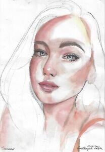 original painting 19 x 27 cm 115HO art samovar watercolor female portrait