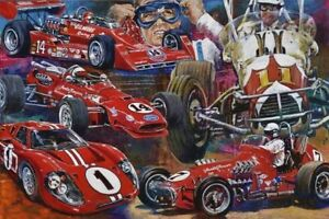 A J FOYT  Autographed Limited Edition Fine Art Print Signed NASCAR Open wheel