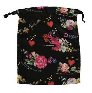 DOLCE & GABBANA Dustbag Cover Bag Black Floral Drawstring Shoebag 37cm x 31cm