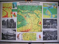 Schulwandkarte Weserland und Teutoburger Wald 139x97 ~1960 vintage wall chart
