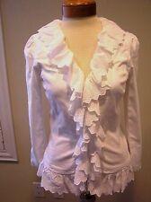 NWT Ralph Lauren White Cotton Denim  ruffled eyelet  lace jacket blazer White 4