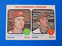 1973 TOPPS  STRIKEOUT LEADERS NOLAN RYAN & STEVE CARLTON BASEBALL CARD #67 NM/MT