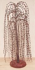 "Primitive Country Burgundy Pip Berry Willow Tree 24"" Tall Tabletop Home Decor"