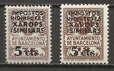 0277-2 SELLOS DIFERENTES BARCELONA MNH ** 5+12 Y 5+75 CTS.HABILITADOS,SOBRECARGA