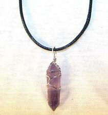 AMETHYST STONE WIRE WRAPPED NECKLACE mens womens health healing JL515 NEW stones