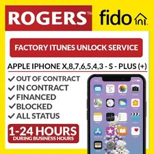 Unlock Service Apple iPhone 5 6 Plus 7 Plus 8 Plus X from Fido Rogers Canada