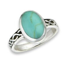 Sterling Silver Textured Band Oval Turquoise Ring