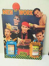 Vintage Men at Work Standee Cardboard Cutout Advertising 80s Throwback