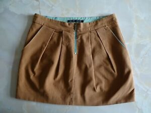 ZARA mini skirt, brown cotton with contrast blue zip and lining, size euro 42