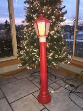 "New Vintage Christmas 39"" Red Lighted Blow Mold Lamp Post Yard Decoration"