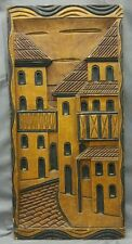 Old vintage hand carved wooden wall plaque cityscape ethnic wood carving