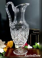 Antique St Louis Florence Cut Crystal Tall Water Pitcher Beverage Holder Blown