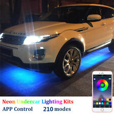 4Pcs LED Strip Under Car Tube Underglow Neon Light Kit Phone APP Sound  Control
