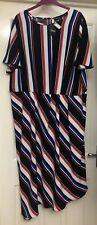 BNWT George Navy Striped Asymmetrical Dress Size 22