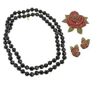 HEIDI DAUS CRYSTAL ROSE PIN, EARRINGS AND NECKLACE SET - RETAIL $166 RED