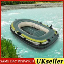 200kg Inflatable Boat 2 Person PVC Rubber Green Kayak With Oars Rope Fishing