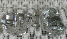 "NEW MARTINSVILLE CRYSTAL BEARS SET 2 TWO /PAIR GLASS CLEAR IRIDESCENT 6"" VINTAGE"