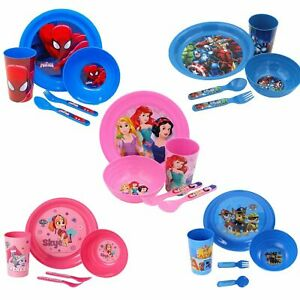 Kids Character 5 Piece Feeding Set Cup Bowl Plate Cutlery - Choose Design
