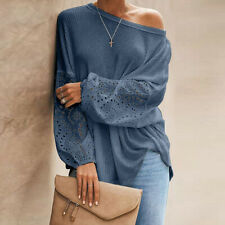Sexy Womens Off Shoulder Knit Tops Hollow Out Long Sleeve Patchwork Pullover