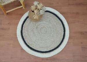 indian natural jute round rug white and black stripe floor area round jute rug