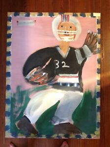 Jimmie Lee Sudduth  Folk Art  Painting Football Player Large Outsider Art