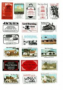 20 Bouldens Match Matchbox labels depicting Advertising The Kings Head etc