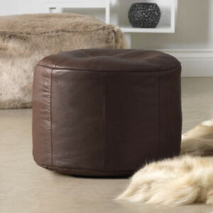 Luxury Real Cowhide Leather Pouffe Designer Leather Ottoman Footrest Brown