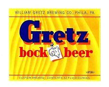 Gretz Bock Beer Bottle Label Gretz Brewing Philadelphia