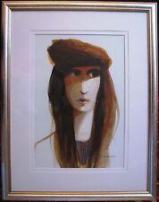 Australian artist Mel Brigg original acrylic portrait titled 'The French Girl'.