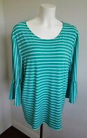 chico's striped green 3/4 flutter sleeve top blouse size 3