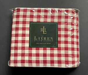 NEW! RALPH Lauren KING *FLAT SHEET Red Cream Plaid COLD SPRING
