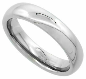 Tungsten Carbide Ring Men Women Wedding Band Plain Dome Polished Comfort Fit 5mm