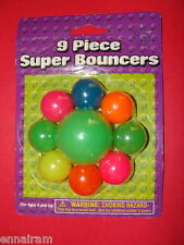 """Set of 9 Super Bouncers Balls 8 1"""" + 1 2"""" New in Package for Kids & Pets too"""