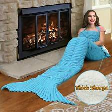 Mermaid Tail Sherpa Blanket,Sherpa Lined Knit Mermaids with Non-Slip Neck Strap
