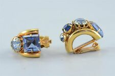 Gold-tone with Blue Rhinestones Clip-on Ea Vintage Mad Men Style Costume Jewelry