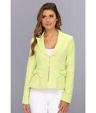 Nanette Lepore Women's Blazer Suit Jacket Yellow Sunshine Bow Accents Size 10