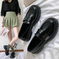 Fashion British Style Woman Black PU Leather Loafers  Round Toe Platform Shoes