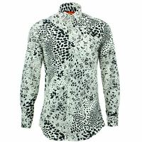 Mens Shirt Loud Originals TAILORED FIT Dots White Retro Psychedelic Fancy