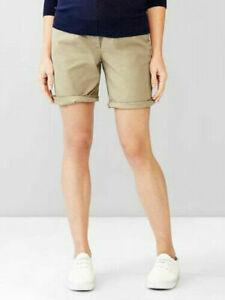 Gap Maternity Khaki Full Panel Boyfriend Roll Up Cuff Shorts 2 $40 NWT