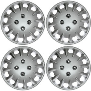 """4 Piece Set 13"""" Inch Hub Cap Silver Rim Cover for OEM Steel Wheel Covers Caps"""