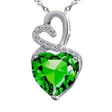 Sterling Silver 4.00 ct Created Emerald Heart Shaped Gemstone Pendant Necklace