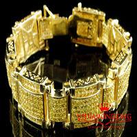 "Men's Round Cut Canary Big Lab Diamonds 14k Yellow Gold-Plated Link Bracelet 9"""